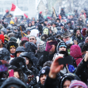 Idle No More Ottawa Action - faces in crowd